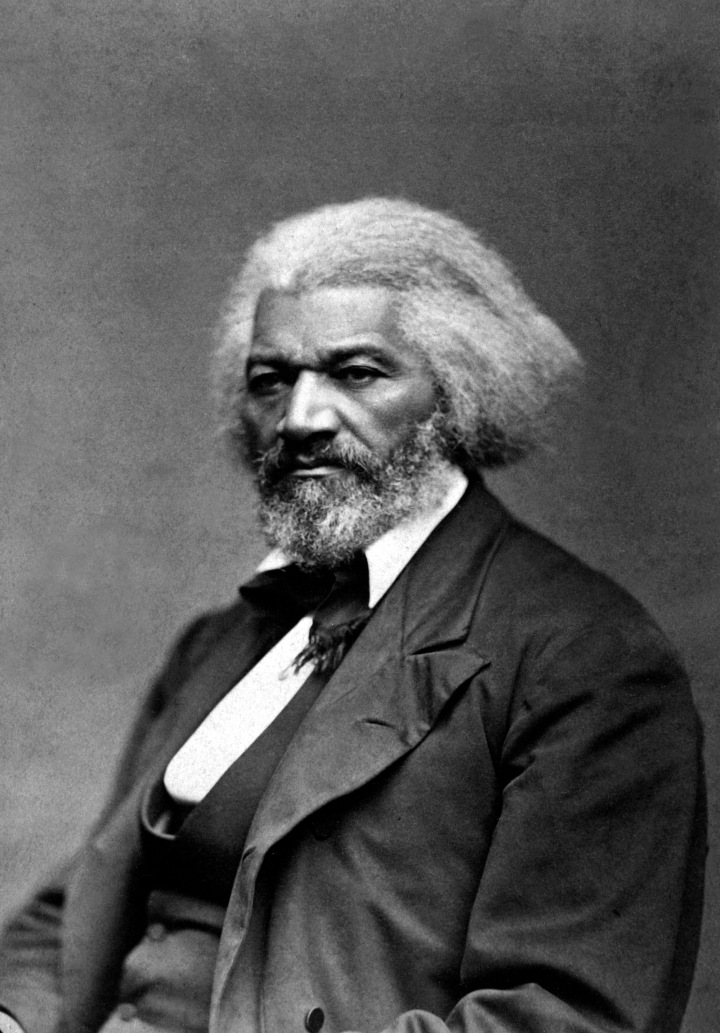 Frederick Douglass in black and white.
